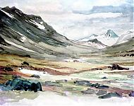 voetreis in lapland  aquarel 1962