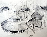 uitbreiding van de volkshogeschool met een zaal en logeerkamers