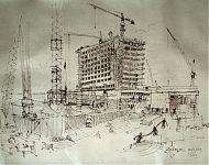 vanuit de bouwkeet bij ziekenhuis leyenburg pentekening 1969