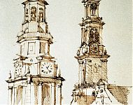 amsterdamse torens sepia 1969