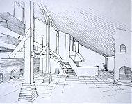 woonkamer in een der droogschuren van de Olifant