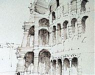 colosseum rome pentekening 1980
