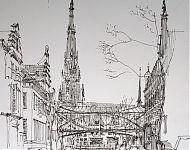 voorontwerp brugverbinding van de straatwanden Fries museum
