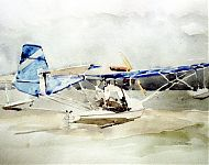 landing op het amelander strand   aquarel
