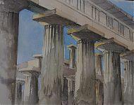 en in krijt + aquarel paestum '07