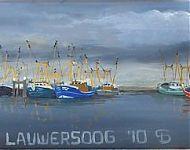 viskotters in Lauwersoog olie op hout 180x40