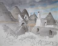 trullo sovrano puglia  potlood/aquarel