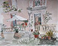 de voordeur van mijn dochter in lunas   aquarel