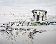 chateau d'eau montpellier pen/aquarel