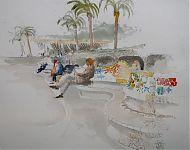 park gaudi barcelona aquarel