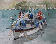 vissers kaïki peloponnesus potlood/aquarel